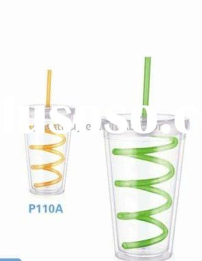 NEW BPA-Free Double Wall Acrylic Tumbler with Lid and Straw, Reuseable