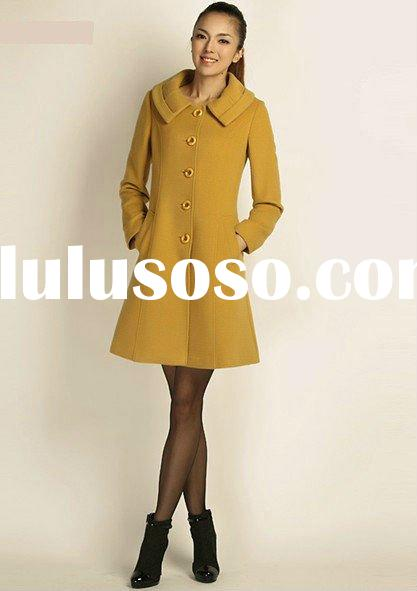New Arrival Long Sleeve Roll Collar Viscose/Wool Korean Girls Dress Coats