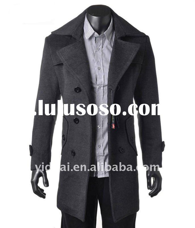 New fashion style Men's woolen long trench coat double-breasted Turndown collar Korean winte