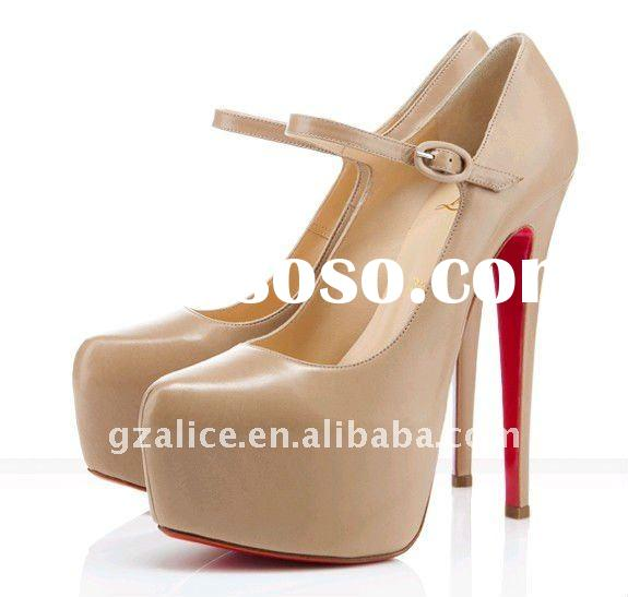 New style hot selling patent leather high-heel ,red outsole ladies fashion shoes,100% leather