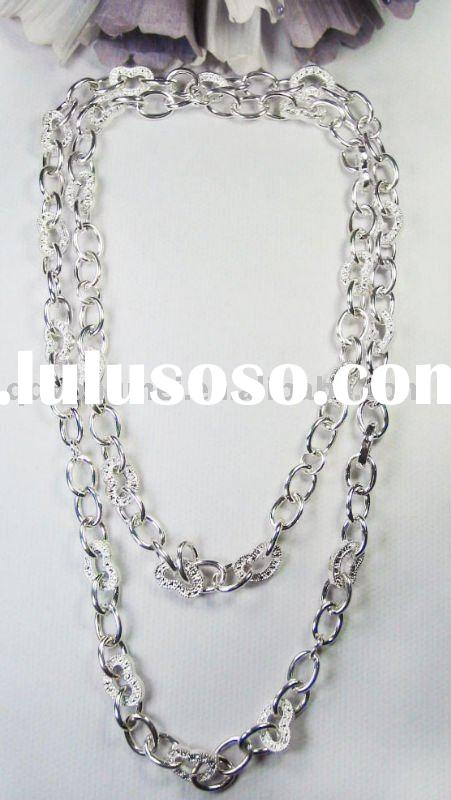 New style trendy costume jewelry fashion double silver chains long necklace