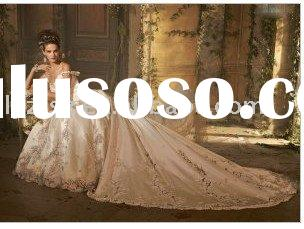 Nobel off-shoulder unique handmade emboridery frilly lace floor-length satin wedding dress for bride