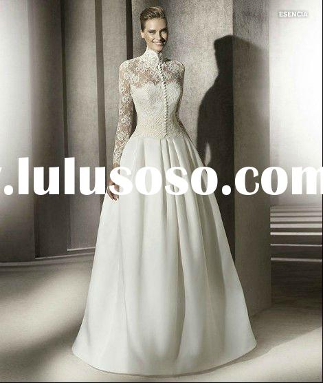 OL3456 New Style Satin Lace Jacket Long Sleeve Wedding Dress 2011