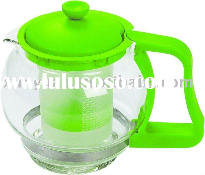 Plastic Filter Glass Teapot with Plastic Handle and Cover 500ML Volume