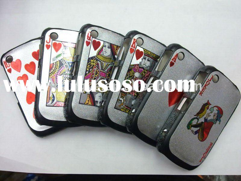 Poker Cards Case Cover for Blackberry Curve 8520-RED Heart