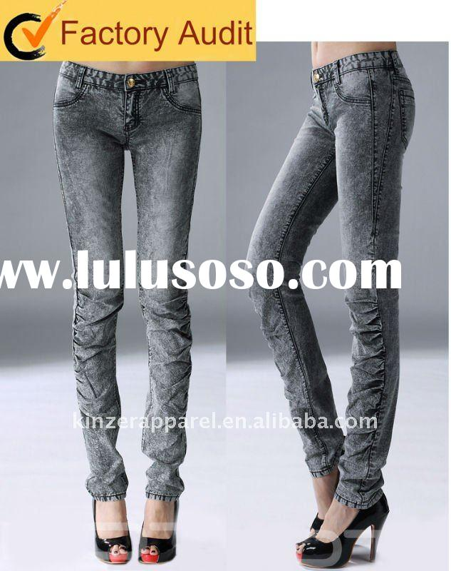 Popular new fashion jeans for lady with snow wash