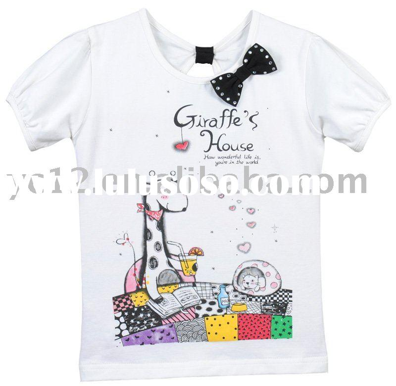 Printed Cotton Knitted Small Bow O-neck Short Sleeve Children Garment Guangzhou Shirt