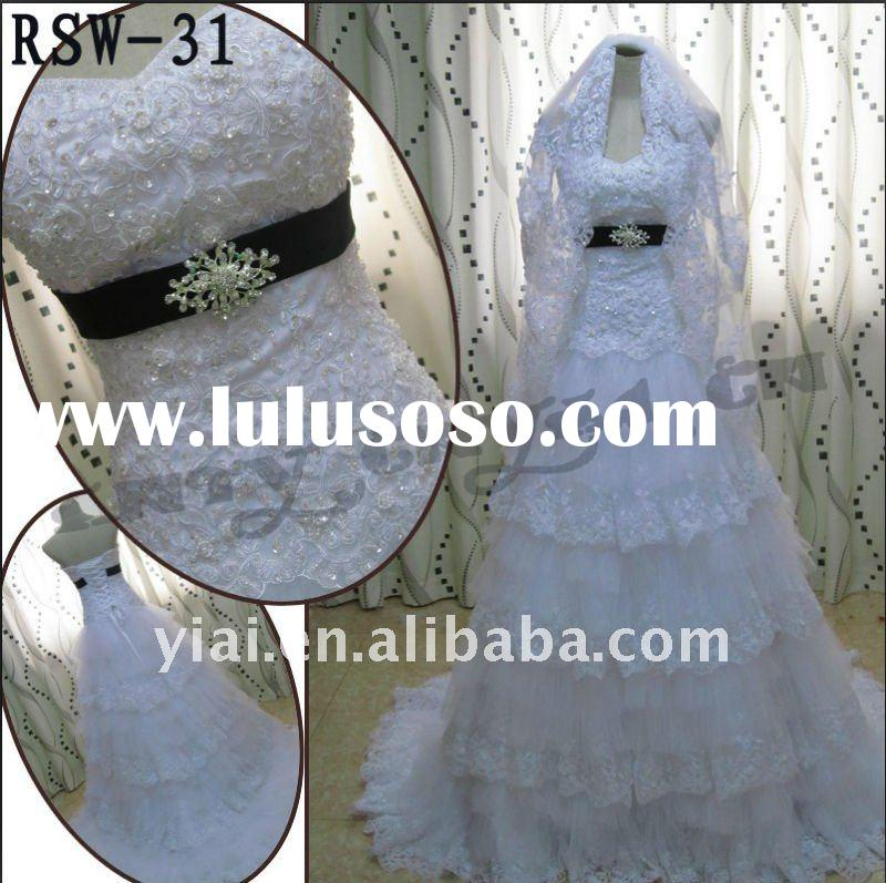 RSW-31 2011 Hot Sell New dress Ladies Fashionable Elegant Customized Beautiful Pearl Beaded Tiered T
