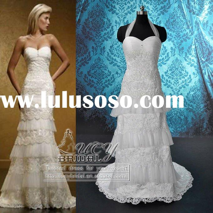 Real High Quality Halter Satin Organza Beaded Heavy Lace Wedding Dress DS0514
