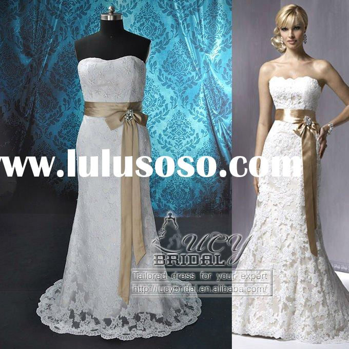 Real-Made High Quality Sheath Satin Heavy Lace Beaded Wedding Dress DS0561