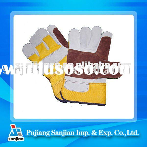 Rubberized Cuff Natural Color Leather Full Palm Work Gloves