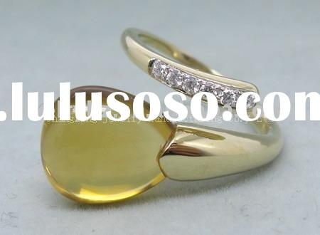 SOLID 14K Yellow GOLD NATURAL CITRINE DIAMOND RING