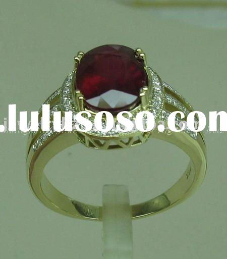 SOLID 14kT YELLOW GOLD NATURAL BLOOD RUBY & DIAMOND JEWELRY
