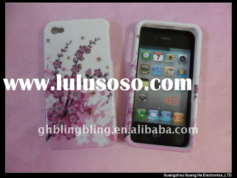Shiny Crystal Case with Spring flowers design for iPhone 4G