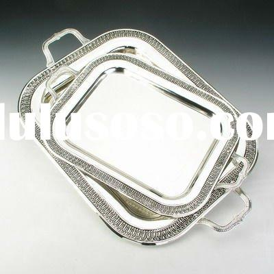 Silver plated food tray 2pcs in 1set high quality