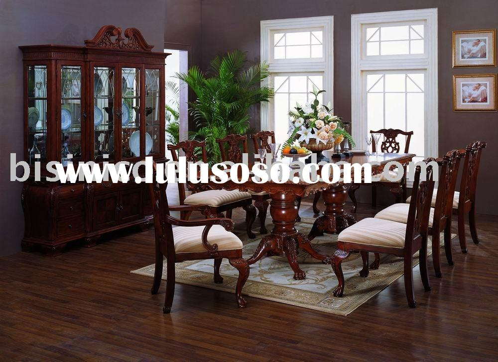 Solid wood antique dining room furniture,dining table,arm chair,dining chair,wine cabinet,American f