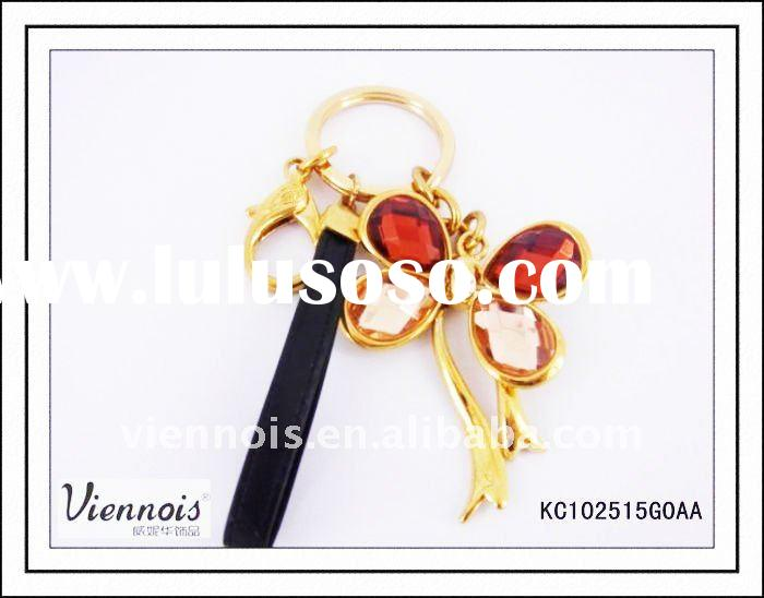Souvenir Butterfly Metal Gold Keychain, Promotion Gift PU Key Chain