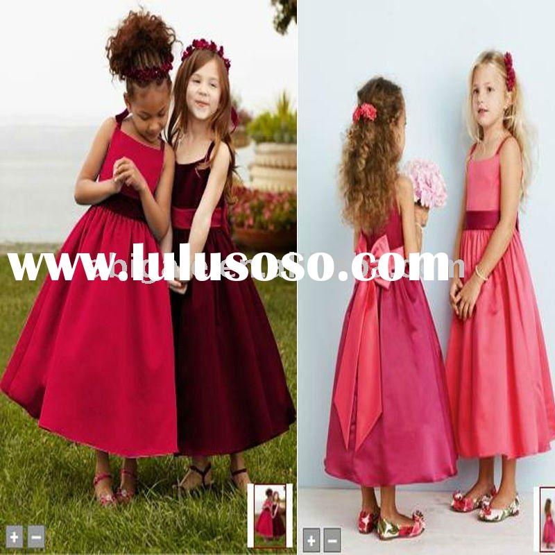 Spaghetti Strap Tea-length Organza Flower Girl Dress 2011