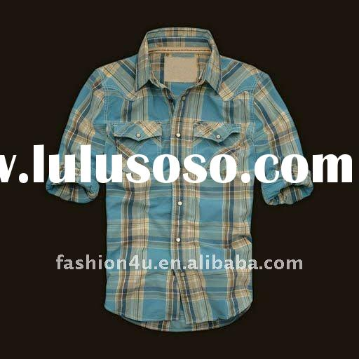Spring and autumn breathable checked dress shirts for men