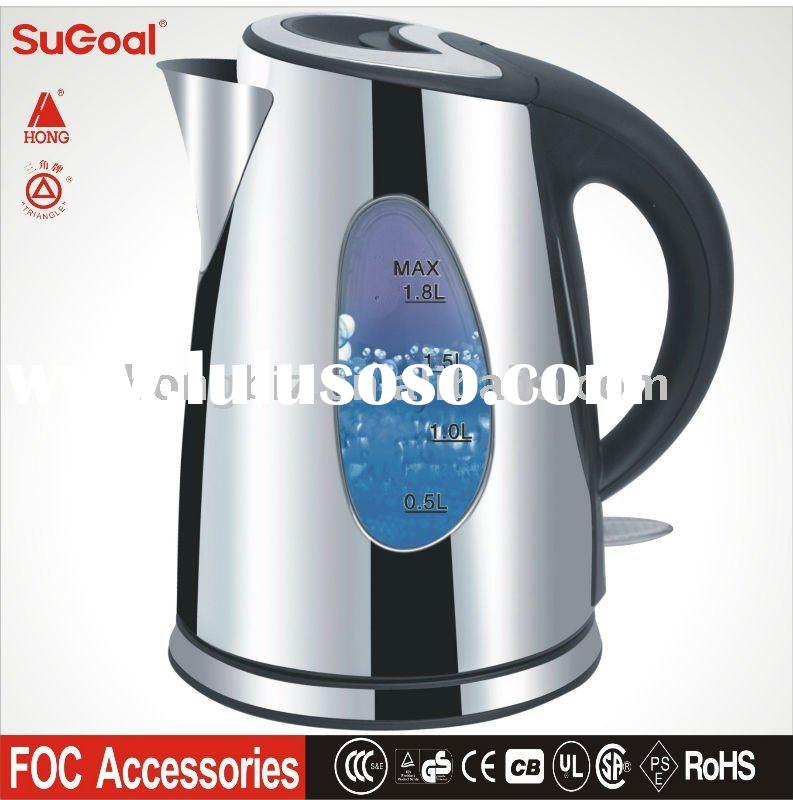 Stainless Steel Electric Kettle 1.8L with big window, LED inside, 1.2L, 1.5L, 2L available