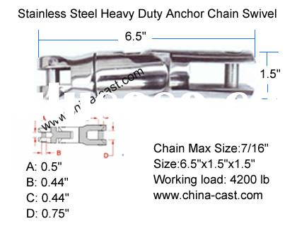 Stainless Steel Heavy Duty Anchor Chain Swivel,Anchor Swivel,Double Anchor Chain Connector