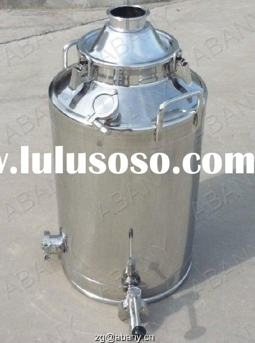 Stainless steel milk can distiller with sanitary fittings