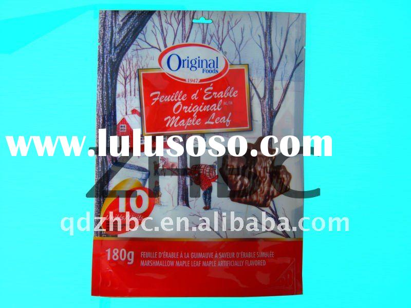 Stand-up plastic candy packaging bag with excellent printing and zipper