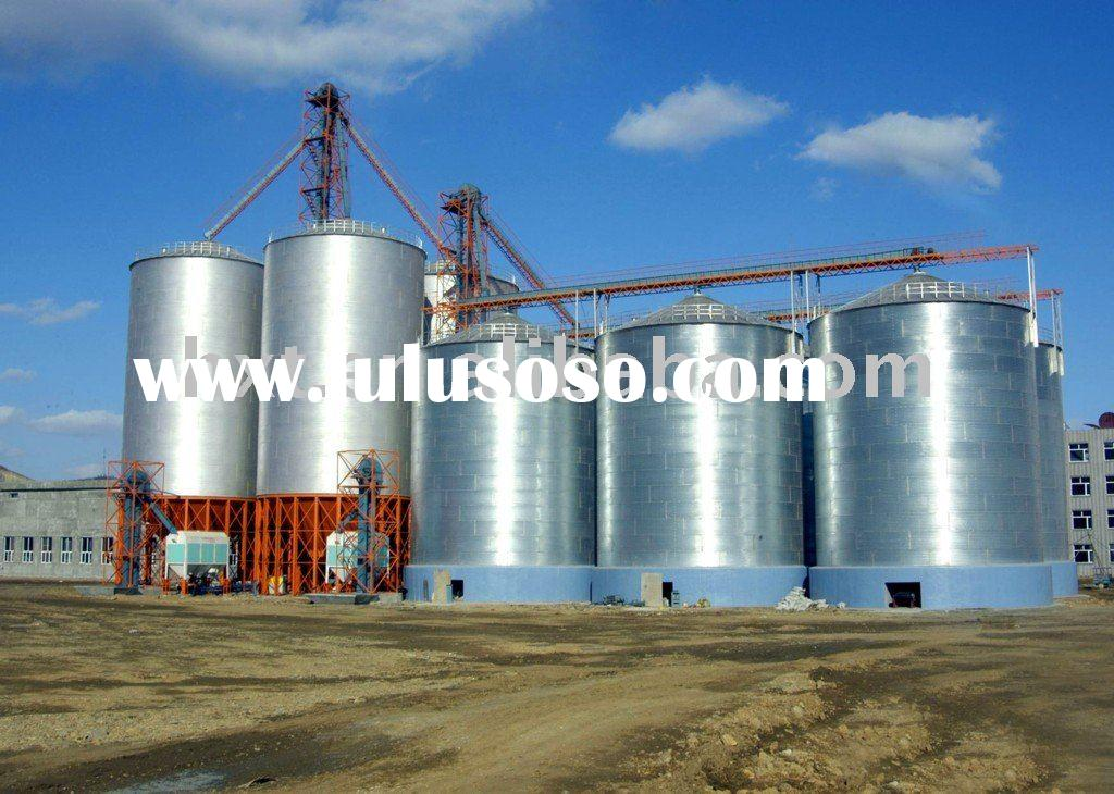 Steel silo with hopper bottom and flat bottom