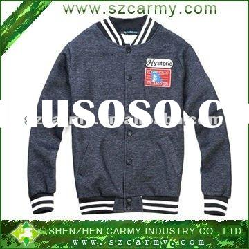 Stylish & Classical Dark Gray Thick Embroidered College Style Baseball Jacket