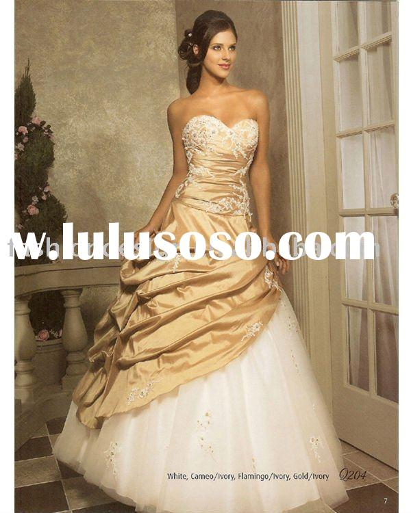 Stylish gold lace appliqued Quinceanera Ball gowns,bridesmaid prom dresses QB029