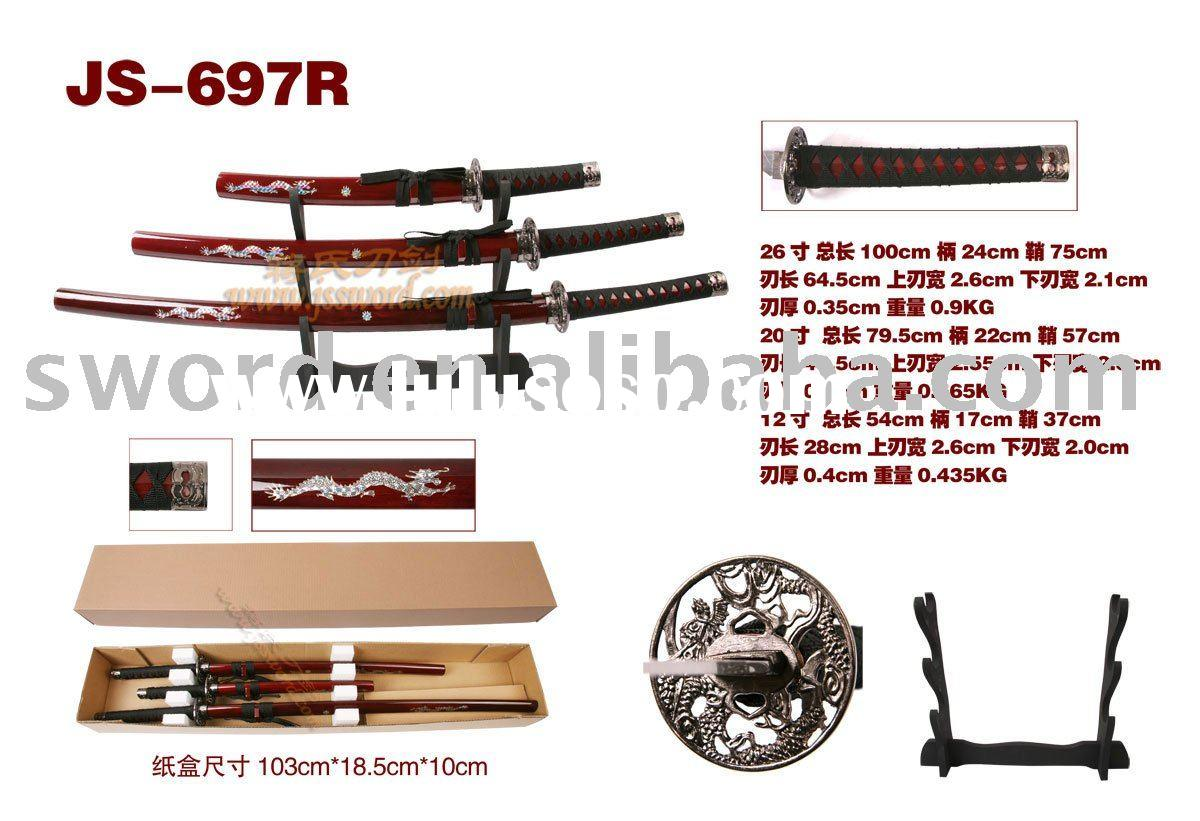 Three-piece katana sword set