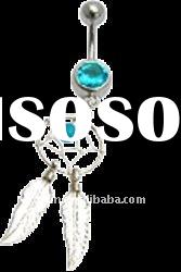 Turquoise Colour Dream Catcher Belly Bar / Navel Ring,body piercing jewelry,banana barbell