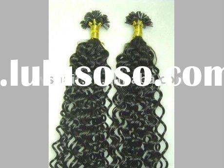 U Tip curly hair extension ,Super Deep wave human hair extension