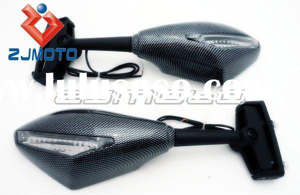 Universal Carbon Integrated Motorcycle Racing Mirrors for Street Bikes LED Turn Signal Mirrors