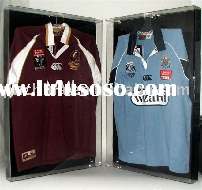 Wall Mounted/Free Standing Acrylic Deluxe Jersey&Shirt Display;Acrylic T-Shirt Display Case;Acry