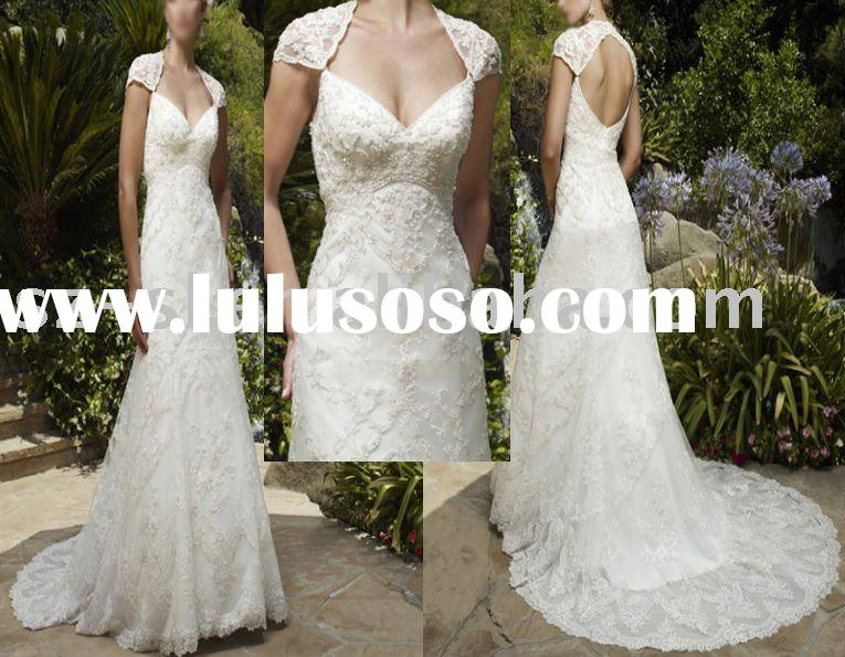 Wedding dress/gown cap sleeve lace sl-685