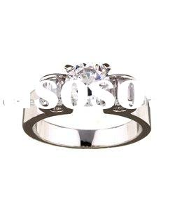White Gold plated alloy Betrothal Cubic zirconia Ring