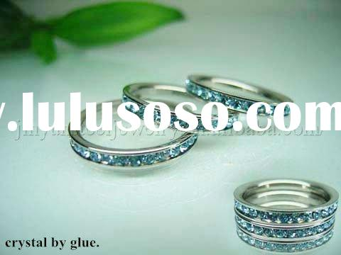 Wholesale Stainless steel jewelry by glue 3mm small band ring with full of crystal LJR976-1004