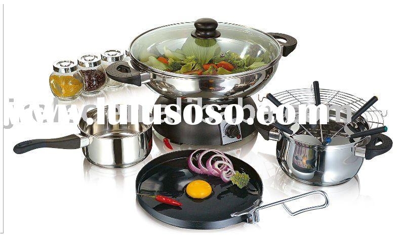 Wok Set 5 in 1/Electric Wok/Stainless Steel Sauce Pan/Frying Wok/Fondue Wok/Frying Pan