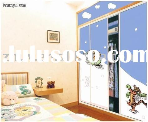 Wood wardrobe with sliding doors(uv panel,sliding doors,color painting board)