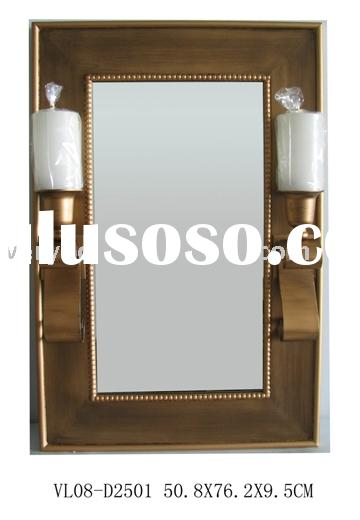 Wooden Wall Mirror w/metal sconce & led candle in antique gold finish