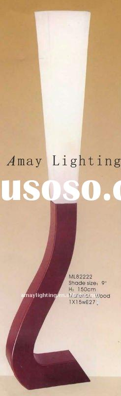 Wooden floor lamp with white fabric shade