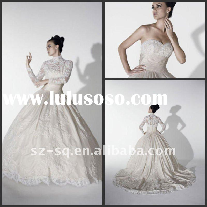 Y0448 Beautiful Long Sleeve Lace Wedding Gown Dress 2012
