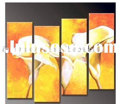Yellow textured Calla lily Modern Set Oil painting