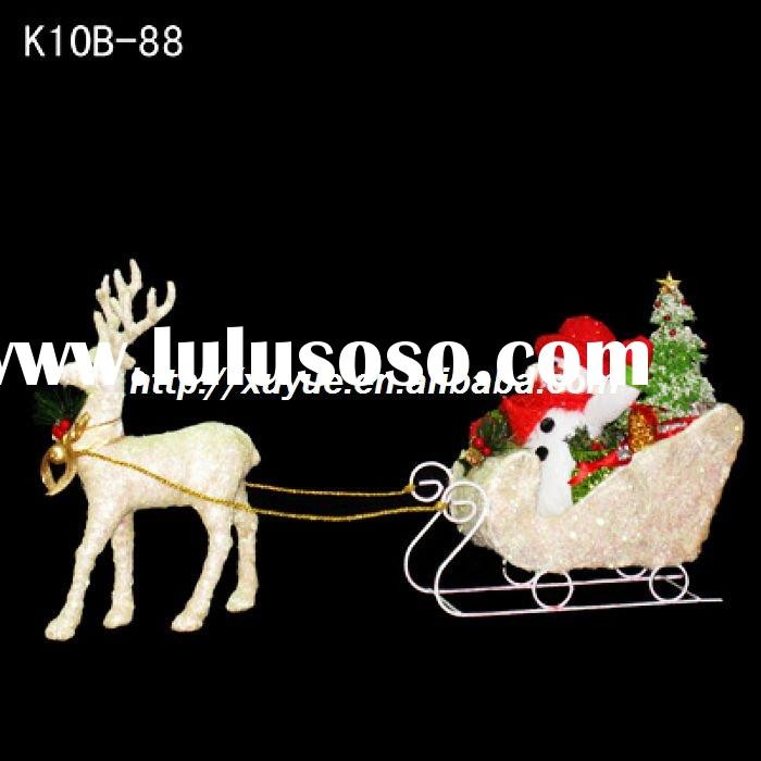 [2012 New] 3D sparkling/ golden christmas reindeer with sled light Christmas Decoration (Outdoor MOQ