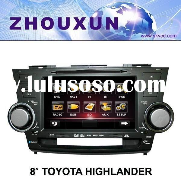 "(Toyota HIGHLANDER) 8"" HD digital TFT car DVD GPS player, with TV,radio, bluetooth"