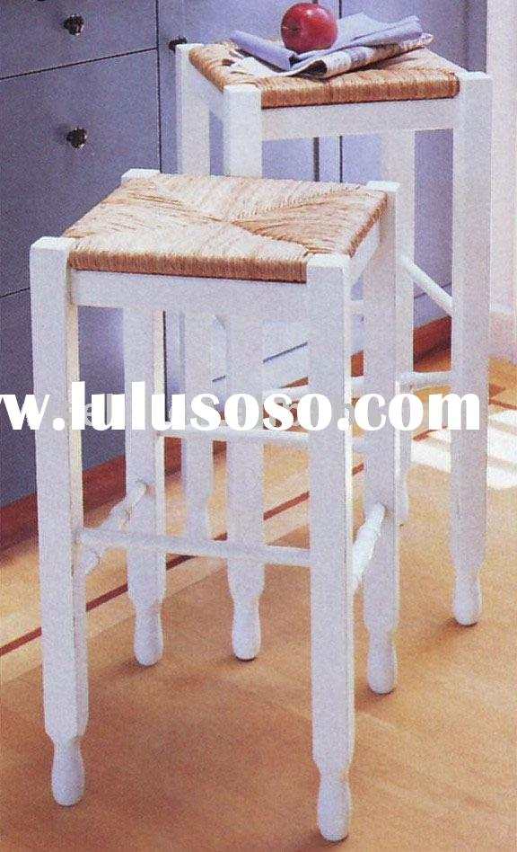 (W-C-9015) pine wood white bar stool