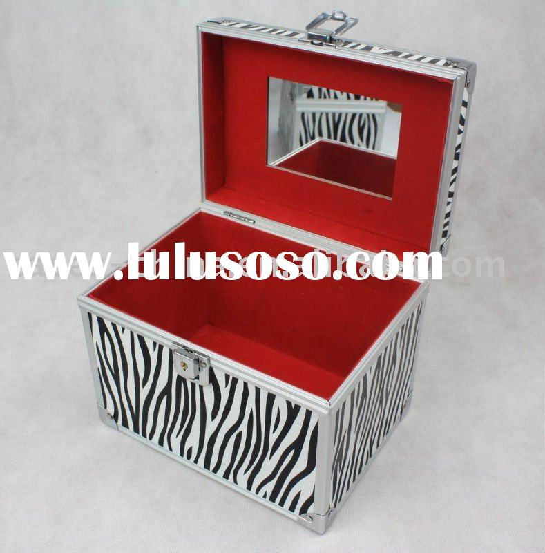 aluminum zebra makeup beauty vanity case with mirror
