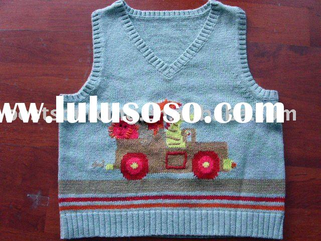 baby autumn clothing cotton knitted 7gg intarsia boy's top sweater vest BS-448