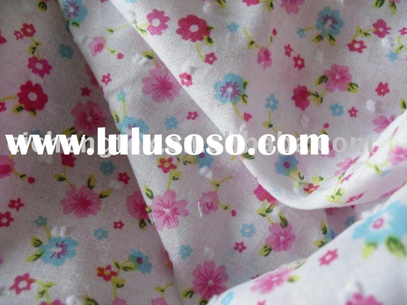 baby clothing fabric, flower printed, 100% cotton swiss dot